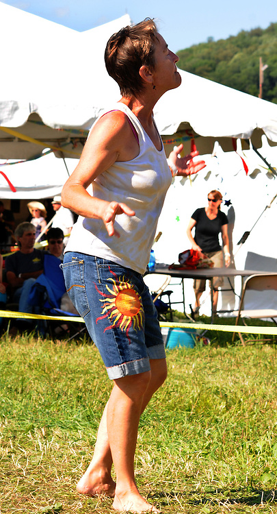 Members of the audience dancing to the music of Jesse Lege & Bayou Brew at the Main Stage at the Falcon Ridge Folk Festival, held on Dodd's Farm in Hillsdale, NY on Saturday, August 1, 2015. Photo by Jim Peppler. Copyright Jim Peppler 2015.