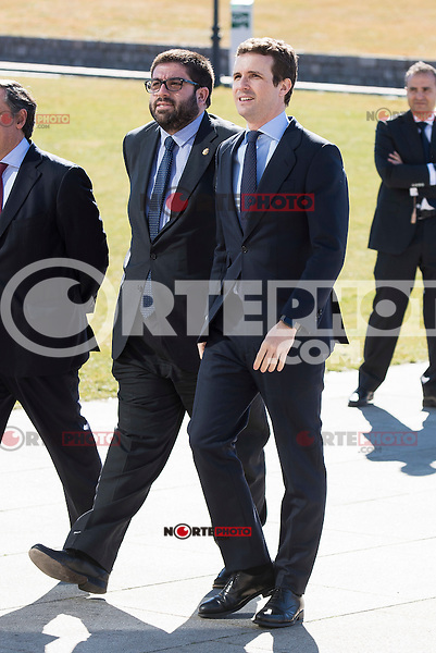 """Politic Pablo Casado arrives to the closing of International Congress """"Woman and Disability"""" at congress center """"Lienzo Norte"""" in Avila, Spain. March 01, 2017. (ALTERPHOTOS/BorjaB.Hojas)"""