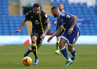 Jacob Murphy of Norwich City is closely marked by Jazz Richards of Cardiff City during the Sky Bet Championship match between Cardiff City and Norwich City at Cardiff City Stadium, Wales, UK. Saturday, 04 February 2017