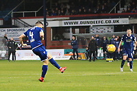 1st November 2019; Dens Park, Dundee, Scotland; Scottish Championship Football, Dundee Football Club versus Greenock Morton; Jamie Ness of Dundee shoots and scores for 2-1 in the 80th minute - Editorial Use