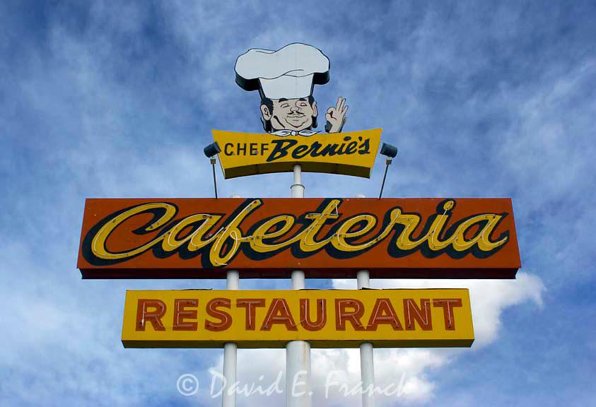 Cafe Bernie's Cafeteria and Restaurant sign located in Farmington, New Mexico.