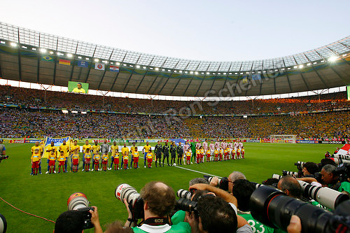 Jun 13, 2006; Berlin, GERMANY; Brazil and Croatia are presented on the pitch prior to their 1st round group F match in the 2006 FIFA World Cup at FIFA World Cup Stadium Berlin. Brazil defeated Croatia 1-0. Mandatory Credit: Ron Scheffler-US PRESSWIRE Copyright © Ron Scheffler