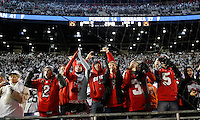 Ohio State fans cheer as the team prepares to leave the field after warming up before a NCAA Division I college football game between the Ohio State Buckeyes and the Penn State Nittany Lions on Saturday, October 22, 2016 at Beaver Stadium in State College, Pennsylvania. (Joshua A. Bickel/The Columbus Dispatch)