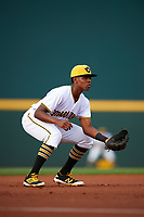 Bradenton Marauders third baseman Ke'Bryan Hayes (31) during a game against the Clearwater Threshers on April 18, 2017 at LECOM Park in Bradenton, Florida.  Clearwater defeated Bradenton 4-2.  (Mike Janes/Four Seam Images)