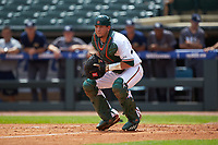 Miami Hurricanes catcher Joe Gomez (40) on defense against the Georgia Tech Yellow Jackets during game one of the 2017 ACC Baseball Championship at Louisville Slugger Field on May 23, 2017 in Louisville, Kentucky. The Hurricanes walked-off the Yellow Jackets 6-5 in 13 innings. (Brian Westerholt/Four Seam Images)