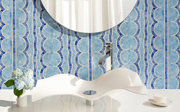 Tanzanian Squiggle, a hand-cut glass mosaic, shown in Blue Spinel and Iolite Sea Glass™ with Moonstone jewel glass. Designed by J. Banks Design for New Ravenna.