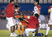 Dinnia Diaz of Costa Rica gets up from injury.. USWNT defeated Costa Rica 4-0 in the 2010 CONCACAF Women's World Cup Qualifying tournament held at Estadio Quintana Roo in Cancun, Mexico on November 1st, 2010.