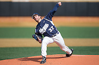 Georgetown Hoyas starting pitcher Matt Hollenbeck (37) delivers a pitch to the plate against the VCU Rams at Wake Forest Baseball Park on February 13, 2015 in Winston-Salem, North Carolina.  The Rams defeated the Hoyas 6-3.  (Brian Westerholt/Four Seam Images)