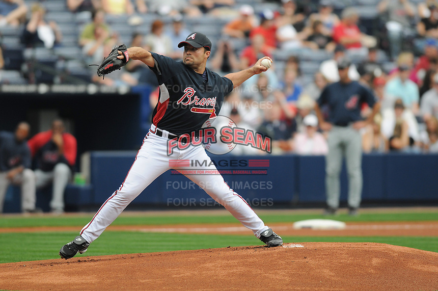 29 March 2008: Mike Hampton of the Atlanta Braves in an exhibition game against the Cleveland Indians at Turner Field in Atlanta, Ga.   Photo by: Tom Priddy/Four Seam Images