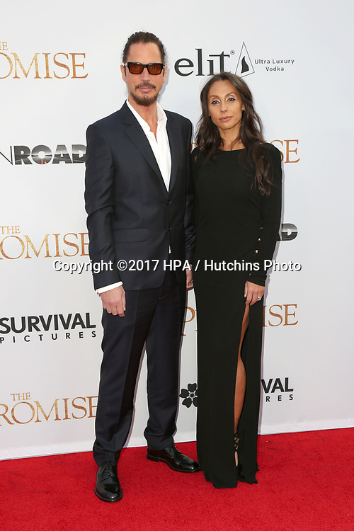 "LOS ANGELES - APR 12:  Chris Cornell, Vicky Karayiannis at the ""The Promise"" Premiere at the TCL Chinese Theater IMAX on April 12, 2017 in Los Angeles, CA"