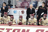 Mike Ayers (BC - Assistant Coach), Bill Arnold (BC - 24), Johnny Gaudreau (BC - 13), Kevin Hayes (BC - 12), Jerry York (BC - Head Coach), Ryan Fitzgerald (BC - 19), Kevin Pratt (BC - Student Manager), Destry Straight (BC - 17) - The visiting College of the Holy Cross Crusaders defeated the Boston College Eagles 5-4 on Friday, November 29, 2013, at Kelley Rink in Conte Forum in Chestnut Hill, Massachusetts.