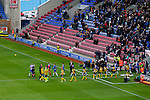 Wigan Athletic 1 Shrewsbury Town 0, 21/11/2015. DW Stadium, League One. The DW Stadium. Wigan Athletic earned a narrow 1-0 at home to Shrewsbury Town. Wigan competed in the Premier League from 2005 to 2013. They won the 2013 FA Cup. The club also embarked on its first European campaign during the 2013–14 UEFA Europa League. The teams walk onto the pitch. Photo by Paul Thompson
