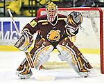 2 January 2009: Ferris State Bulldogs' goaltender Pat Nagle, a Sophomore from Bloomfield, MI, in action against the St. Lawrence Saints during the first game of the 2009 Catamount Cup Ice Hockey Tournament hosted by the University of Vermont at Gutterson Fieldhouse in Burlington, Vermont. The Saints defeated the Bulldogs 5-4 to move onto the championship game against the University of Vermont Catamounts...Mandatory Photo Credit: Ed Wolfstein Photo