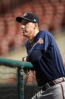 Gwinnett Braves pitcher Ryan Buchter (59) in the dugout during a game against the Buffalo Bisons on May 13, 2014 at Coca-Cola Field in Buffalo, New  York.  Gwinnett defeated Buffalo 3-2.  (Mike Janes/Four Seam Images)