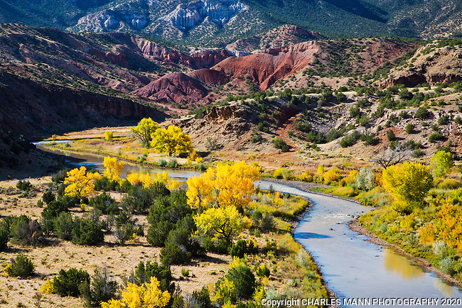 The Chama River flows through the vilage of Abiquiu in northern New Mexico and is near both Pedernal peak and Ghost Ranch,  all of which were subjects of the renowned painter Georgia O'Keefe.