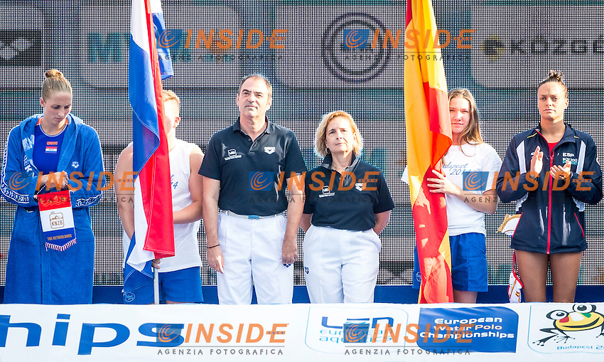 Referee<br /> Spain (White) Vs Netherlands (Blue) Women<br /> LEN European Water Polo Championships 2014 - July 14-27<br /> Alfred Hajos -Tamas Szechy Swimming Complex<br /> Margitsziget - Margaret Island<br /> Day13 - July 26<br /> Photo Giorgio Scala/Inside/