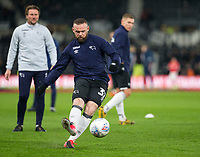 31st January 2020; Pride Park, Derby, East Midlands; English Championship Football, Derby County versus Stoke City; Wayne Rooney of Derby County taking shots at goal during the warm up before the match - Strictly Editorial Use Only. No use with unauthorized audio, video, data, fixture lists, club/league logos or 'live' services. Online in-match use limited to 120 images, no video emulation. No use in betting, games or single club/league/player publications