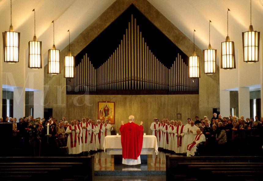 Priest celebrating mass.