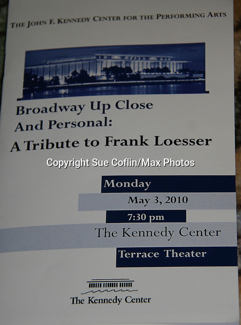 Program - Guiding Light's Ron Raines headlines at Broadway Up Close and Personal: A Tribute to Frank Loesser on May 3, 2010 at the John F. Kennedy Center for the Performing Arts, Washington DC. Justin Deas, wife Margaret Colin and son Sam and Peter & Courtney Simon came to see Ron Raines perform with four other performers. (Photo by Sue Coflin/Max Photos)