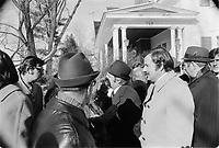 Funerailles de Jean-Jacques Bertrand, le 25 fevrier 1973, a Laval.<br /> <br /> Parmi les gens présents : le maire Jean Drapeau, le chef de l'Union Nationale Gerald Loubier et Jean-Guy Cardinal.<br /> <br /> Photo : Agence Quebec Presse - Alain Renaud