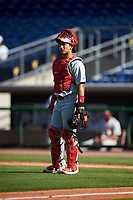 Palm Beach Cardinals catcher Jeremy Martinez (13) during the first game of a doubleheader against the Clearwater Threshers on April 13, 2017 at Spectrum Field in Clearwater, Florida.  Clearwater defeated Palm Beach 1-0.  (Mike Janes/Four Seam Images)