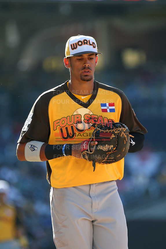 Ronald Guzman of the World Team during a game against the USA Team during The Futures Game at Petco Park on July 10, 2016 in San Diego, California. World Team defeated USA Team, 11-3. (Larry Goren/Four Seam Images)