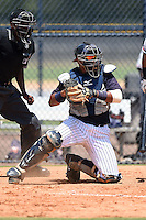 GCL Yankees 1 catcher Alvaro Noriega (13) during the first game of a doubleheader against the GCL Braves on July 1, 2014 at the Yankees Minor League Complex in Tampa, Florida.  GCL Yankees 1 defeated the GCL Braves 7-1.  (Mike Janes/Four Seam Images)