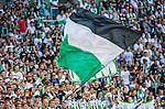 Stockholm 2014-07-28 Fotboll Superettan Hammarby IF - Assyriska FF :  <br /> Hammarbys supportrar med en flagga<br /> (Foto: Kenta J&ouml;nsson) Nyckelord:  Superettan Tele2 Arena Hammarby HIF Bajen Assyriska AFF supporter fans publik supporters
