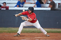 Grayson Preslar (7) (UNC Asheville) of the Lake Norman Copperheads attempts to lay down a bunt against the Mooresville Spinners at Moor Park on July 6, 2020 in Mooresville, NC.  The Spinners defeated the Copperheads 3-2. (Brian Westerholt/Four Seam Images)