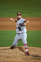 Palm Beach Cardinals pitcher Robby Rowland (55) delivers a pitch during the second game of a doubleheader against the Dunedin Blue Jays on July 31, 2015 at Florida Auto Exchange Stadium in Dunedin, Florida.  Dunedin defeated Palm Beach 4-0.  (Mike Janes/Four Seam Images)