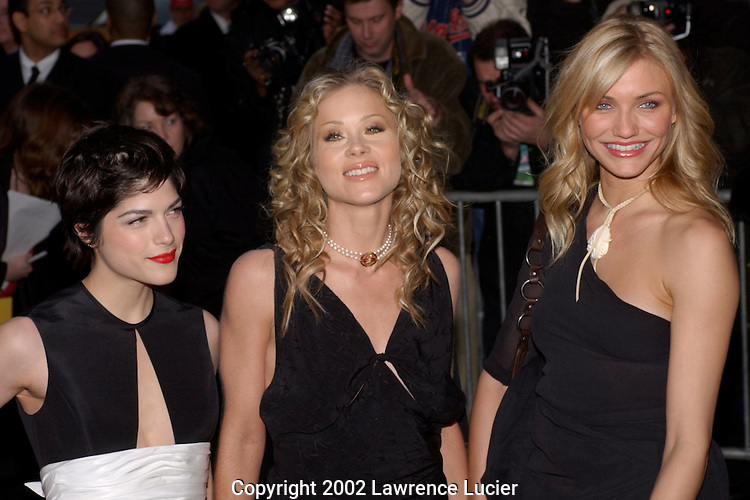 Actresses Selma Blair, Christina Applegate, and Cameron Diaz arrive at the premier of The Sweetest Thing April 8, 2002, in New York. They star in the film..
