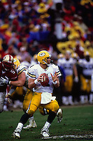 SAN FRANCISCO, CA: Brett Favre of the Green Bay Packers in action during the NFC Championship game against the San Francisco 49ers at Candlestick Park in San Francisco, California in 1998. Photo by Brad Mangin