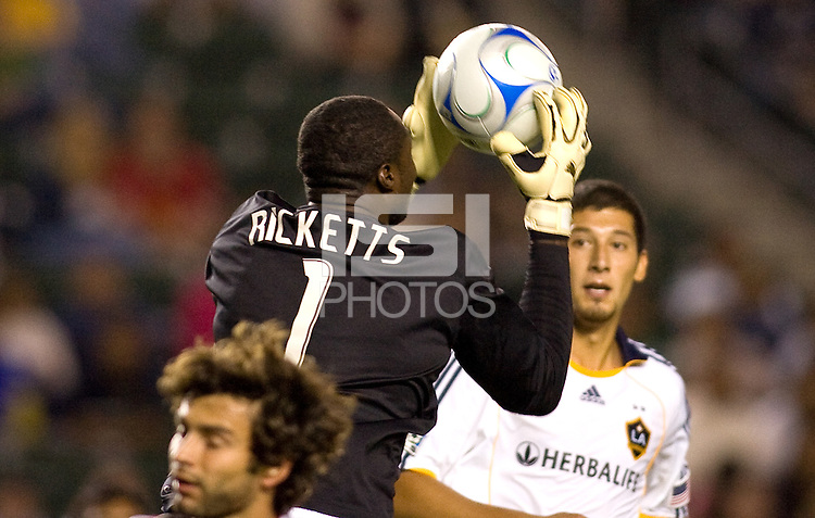LA Galaxy goalkeeper Donovan Ricketts makes a save. The LA Galaxy defeated the Chicago Fire 1-0 at Home Depot Center stadium in Carson, California on Friday October 2, 2009...