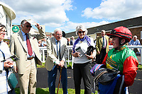 Hollie Doyle and connections of Billesdon Bess in the winners enclosure during Afternoon Racing at Salisbury Racecourse on 13th June 2017