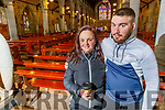 Alannah Blennerhasset and Ciaran Hanlon from Tralee attending Mass in St Johns Church on Monday morning as Churches reopen for mass.