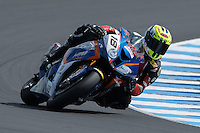 Ivan Clementi (ITA) riding the BMW S1000 RR (18) of the HTM Racing team rounds turn 6 during a qualifying session on day one of round one of the 2013 FIM World Superbike Championship at Phillip Island, Australia.