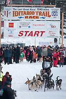 Musher # 7 Warren Palfrey at the Restart of the 2009 Iditarod in Willow Alaska