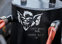 Aug 30, 2019; Clermont, IN, USA; Detailed view of the puke tank on the car of NHRA top alcohol dragster driver Jasmine Salinas during qualifying for the US Nationals at Lucas Oil Raceway. Mandatory Credit: Mark J. Rebilas-USA TODAY Sports