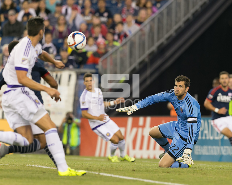 Foxborough, Massachusetts - September 5, 2015: First half action. In a Major League Soccer (MLS) match, the New England Revolution (blue/white) vs Orlando City SC (white), 1-0 (halftime), at Gillette Stadium.
