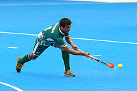 Muhammad Rizwan Jr of Pakistan in action during the Hockey World League Semi-Final 5-8th place match between Pakistan and India at the Olympic Park, London, England on 24 June 2017. Photo by Steve McCarthy.