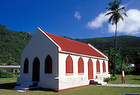 church, Jost Van Dyke, British Virgin Islands, Caribbean, BVI, Methodist Church with red roof and red shingles on Jost Van Dyke Island.