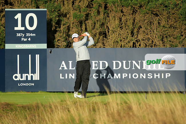 Eddie Pepperell (ENG) during Round 1of the Alfred Dunhill Links Championship at Kingsbarns Golf Club on Thursday 26th September 2013.<br /> Picture:  Thos Caffrey / www.golffile.ie