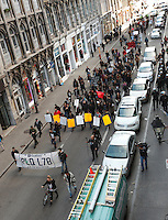 October 22 2012 - Montreal, Quebec , Canada  - A small demonstration in the street of Montreal requesting an amnesty for all student arrested<br /> since the beginnning of the student strike against the proposed tuition hike