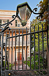 CHarleston SC iron gate in front of a Battery row mansion