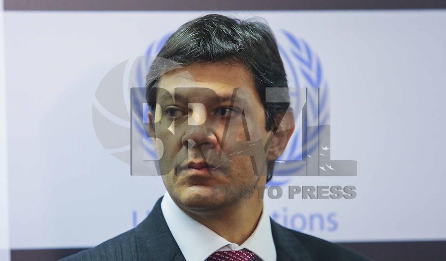 SAO PAULO, SP, 09 DE MAIO 2013 - INAUGURAÇÃO ESCRITORIO DA ONU EM SAO PAULO - Fernando Haddad prefeito da cidade de Sao Paulo durante solenidade de inauguração do escritório da ONU (Organização das Nações Unidas ) em São Paulo no centro da cidade de Sao Paulo nesta quinta-feira, 09. FOTO: VANESSA CARVALHO - BRAZIL PHOTO PRESS