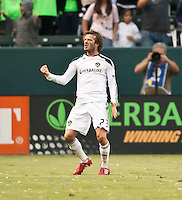 CARSON, CA – OCTOBER 24: LA Galaxy midfielder David Beckham celebrates during a soccer match at the Home Depot Center, October 24, 2010 in Carson, California. Final score LA Galaxy 2, Dallas FC 1.