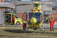Norwegian Air Ambulance helicopter about to depart from outside Kongsvinger hospital. <br /> <br /> <br /> <br /> ©Fredrik Naumann/Felix Features