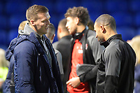Kyle Vassell of Rotherham United right talks to former Rotherham United  loanee Sean Raggett of Portsmouth during Portsmouth vs Rotherham United, Sky Bet EFL League 1 Football at Fratton Park on 26th November 2019