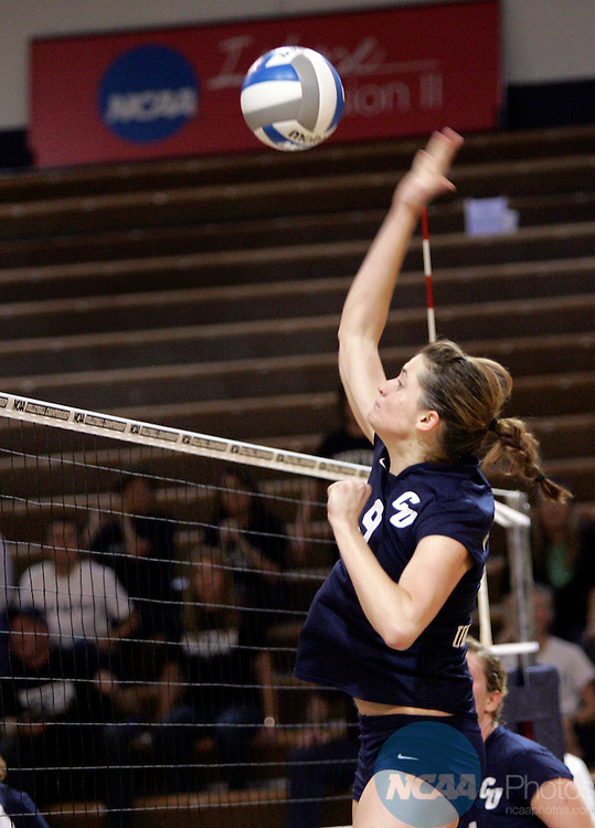 01 DEC 2007: Concordia University-St. Paul's Maria Steinhagen went up for one of her 26 kills against Western Washington during the NCAA Division II Volleyball Championship match Saturday night in Lee Arena in Topeka, KS. Jeff Jacobsen/NCAA Photos