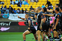 The Kiwis perform a haka before the 2017 Rugby League World Cup quarterfinal match between New Zealand Kiwis and Fiji at Westpac Stadium in Wellington, New Zealand on Saturday, 18 November 2017. Photo: Mike Moran / lintottphoto.co.nz
